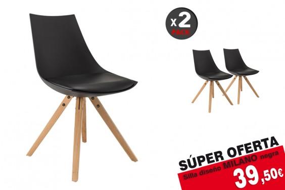 2 sillas MILANO Negras diseño 39 € /u