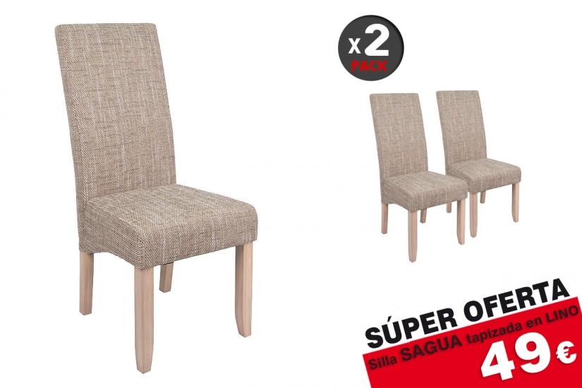 f51e4f87761f7 Conjunto de 2 sillas tapizadas en elegante tela de Color Beige