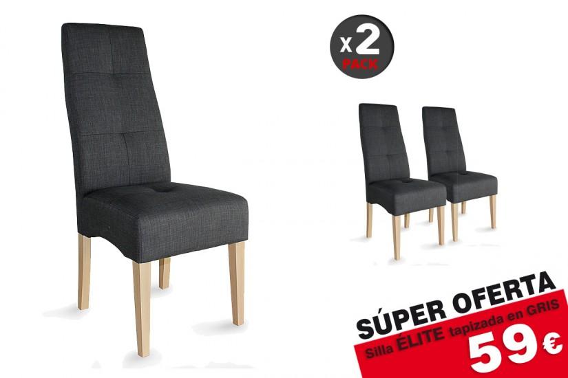 Conjunto de 2 sillas tapizadas en elegante tela de color for Sillas salon gris