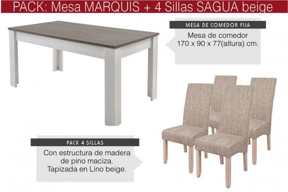 PACK Mesa comedor MARQUIS + 4 sillas VALENTINO Beige