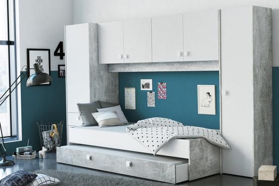 Dormitorio Puente CONCRETE Blanco/Gris