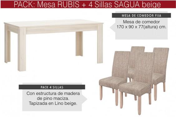 PACK Mesa comedor RUBIS + 4 sillas SAGUA Beige