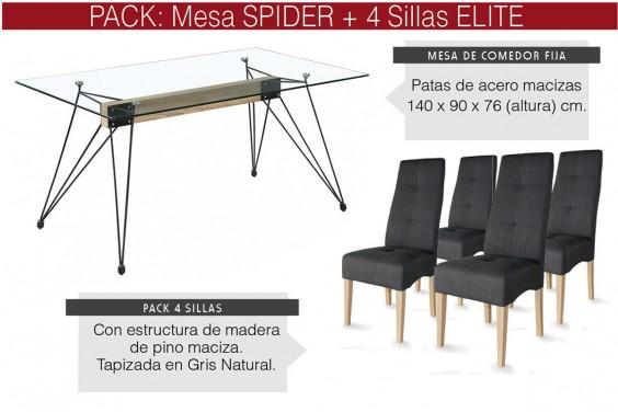 PACK Mesa comedor SPIDER + 4 sillas ELITE Gris