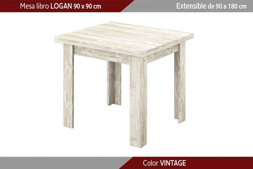 Mesa de comedor cuadrada LOGAN extensible en color Vintage de 90x90 ...