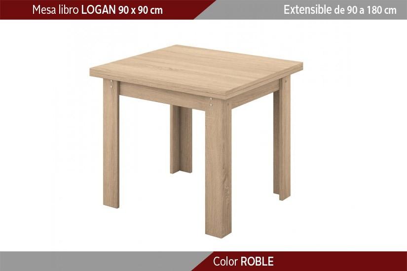 Mesa de comedor cuadrada LOGAN extensible en color Cambrian de 90x90 ...