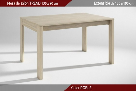 Mesa comedor TREND Roble Extensible 130x90