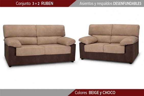 Conjunto de Sofás 3+2 Plazas RUBEN Beige/Choco