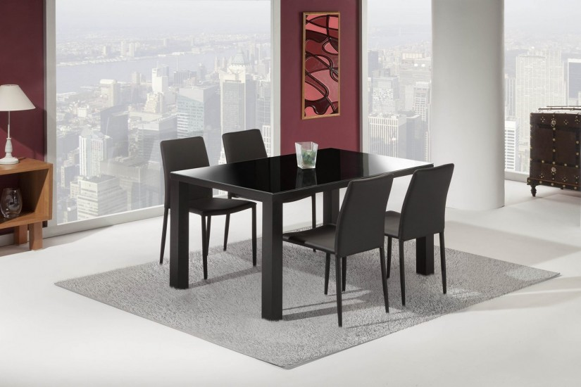 Mesa comedor negra beautiful conjunto de mesa y sillas de - Mesa negra ikea ...
