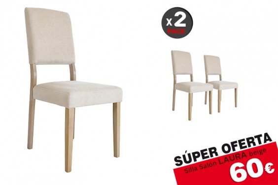 2 sillas salón LAURA Lino Beige 60 € /u.