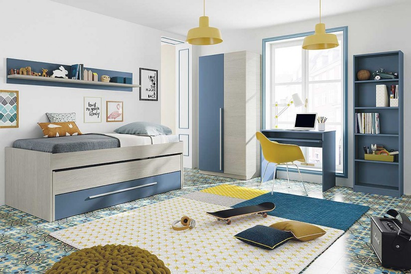 Cama doble juvenil azul wic for Sillas para dormitorio ikea