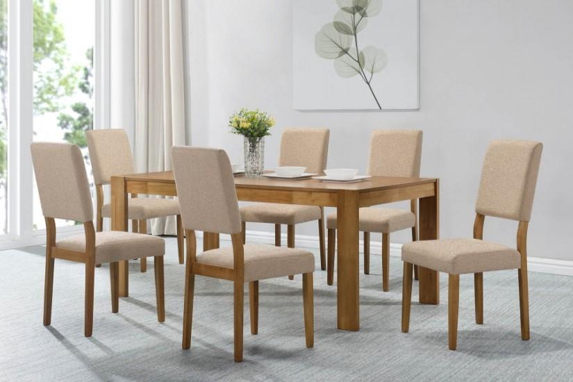Mesa de comedor rectangular laura en color roble natural for Mesas de comedor haya