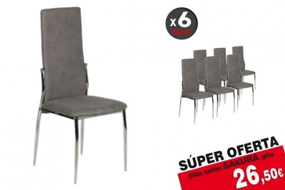 Pack 6 sillas salón SAKURA M024 Gris