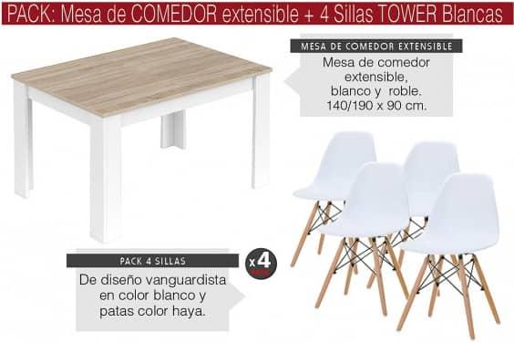 PACK Mesa MEDITERRANEO + 4 Sillas TOWER Blancas diseño
