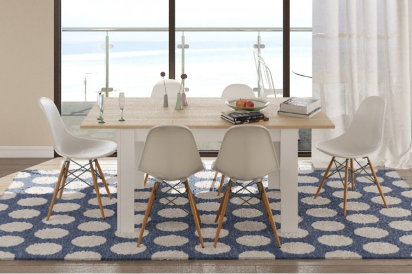 Pack de 1 mesa de sal n extensible 4 sillas tower de for Sillas de salon de diseno
