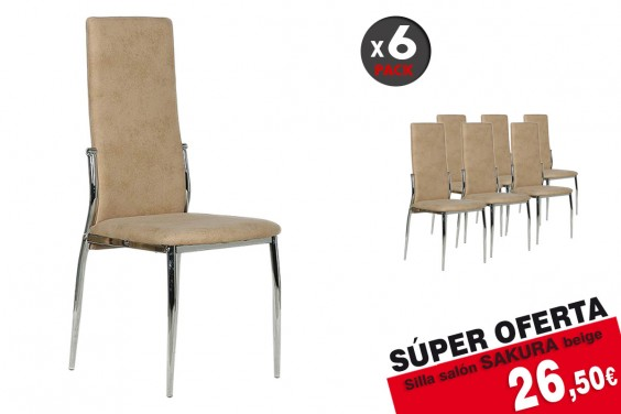 Pack 6 sillas salón SAKURA M024 Beige