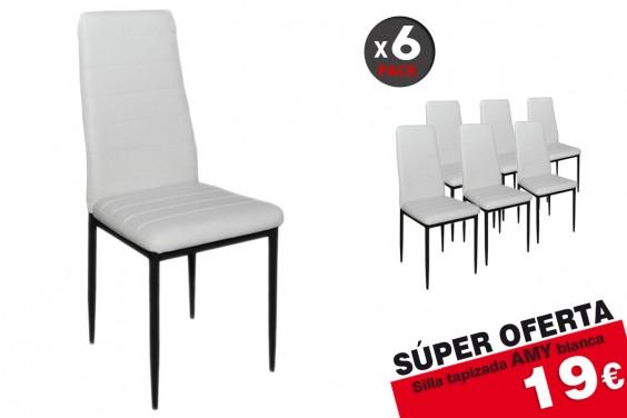 6 sillas salón AMY M023 Blanco 19 €/u.