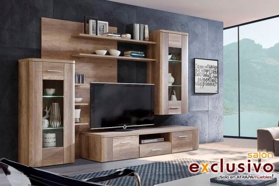 Mueble de salón BUFFALO Roble Antiguo LEDS