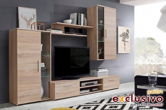 Mueble de salón MEDEO Roble Sonoma LEDS