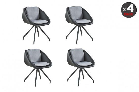 4 Sillones EVERET Negro y Gris
