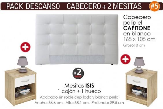 Pack AHORRO Cabecero Capitone Blanco + 2 Mesitas
