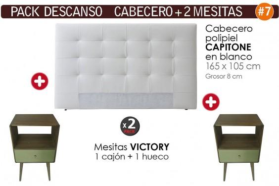 Pack AHORRO Cabecero Capitone Blanco + 2 Mesitas VICTORY de 1 Cajón