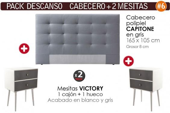 Pack AHORRO Cabecero Capitone gris + 2 Mesitas VICTORY 2 cajones