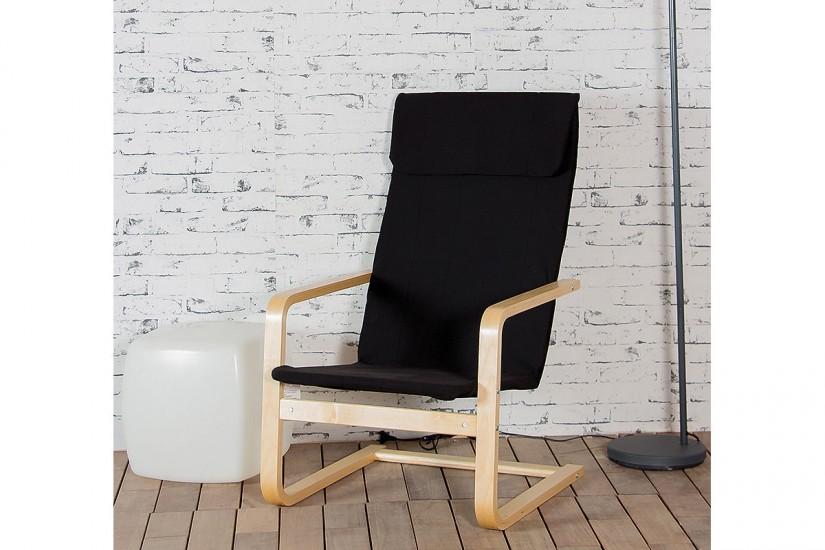520b67f5f Mecedora Sillón RELAX de madera natural tapizado en elegante color negro