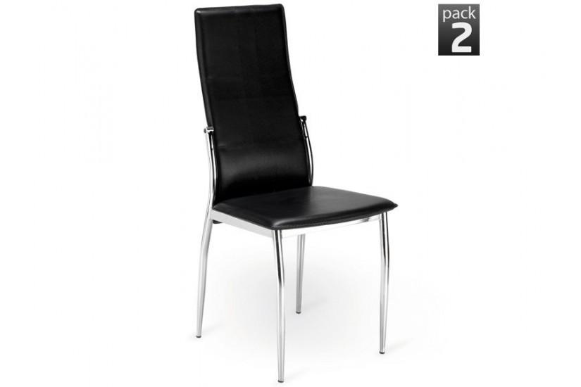 Conjunto de 2 sillas de sal n tapizadas negro modelo sei for Sillas de salon tapizadas