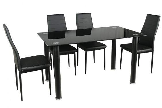 PACK Mesa + 4 Sillas SHADE3 Negro