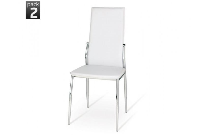 Conjunto de 2 sillas de sal n tapizadas en color blanco for Sillas de salon tapizadas