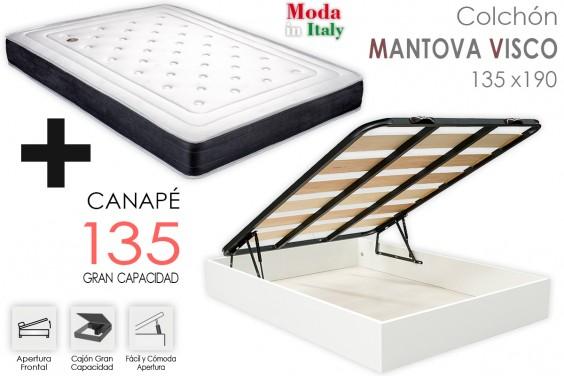 PACK Canapé ECO + Colchón MANTOVA VISCO 135