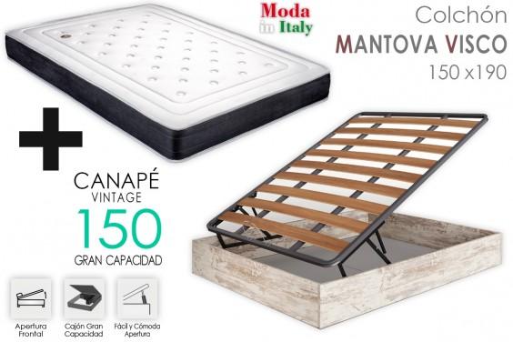 PACK Canapé Vintage + Colchón MANTOVA VISCO 150