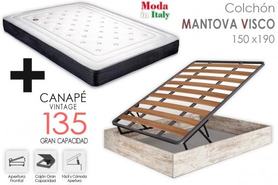 PACK Canapé Vintage + Colchón MANTOVA VISCO 135