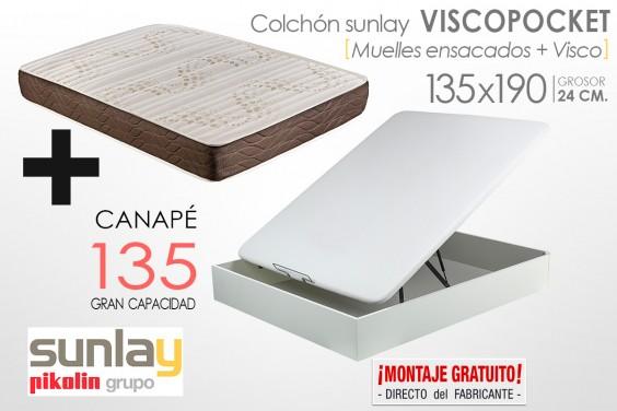 PACK Canapé + Colchón sunlay VISCOPOCKET (Pikolin) 135x190