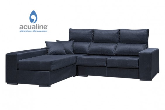 Sofá Chaiselongue Reversible CASH Gris Azulado Veltet 10