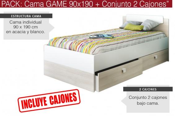 Cama GAME 90x190 + Conjunto 2 Cajones bajo cama