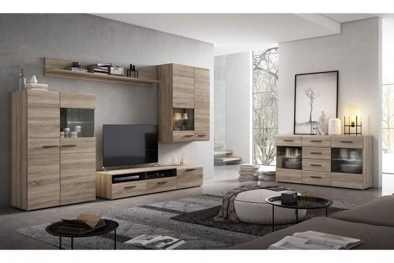 Mueble de salón COMBINO Roble Sonoma LEDS