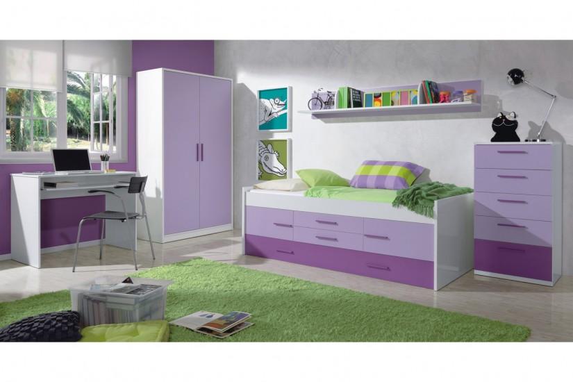 Cama doble iplay con somier 2 puertas y 2 cajones - Habitacion lila y blanca ...