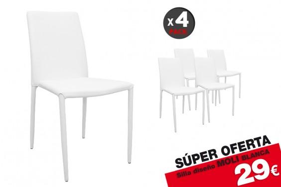 4 sillas salón MOLI Blancas (29 € /u.)