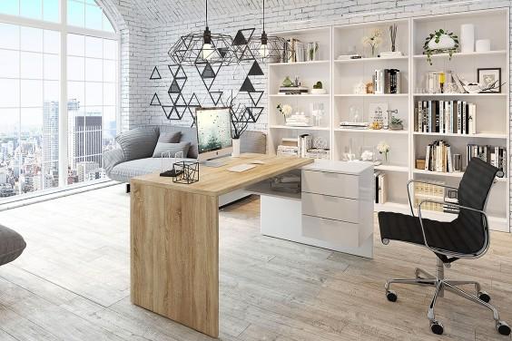 Mesa de Oficina OFFICE Roble y Blanco
