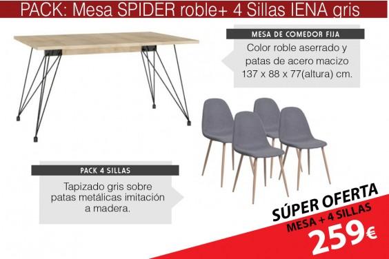 PACK Mesa comedor SPIDER + 4 sillas IENA Gris