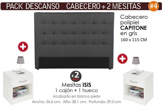 Pack AHORRO Cabecero Capitone Gris + 2 Mesitas