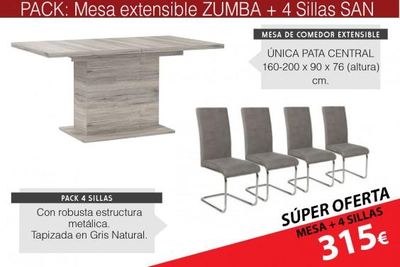 PACK Mesa comedor ZUMBA + 4 sillas SAN Gris