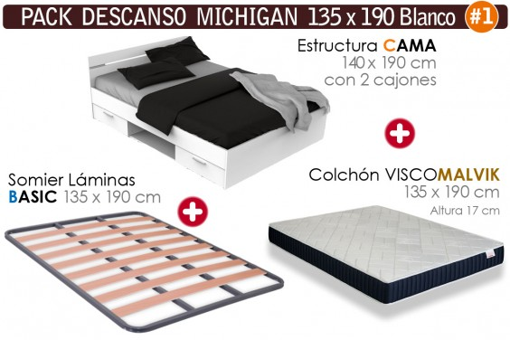 Pack AHORRO Descanso MICHIGAN MALVIK Blanco 135x190