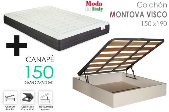 PACK Canapé EKO + Colchón MONTOVA VISCO 150