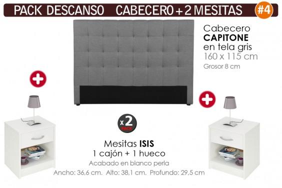 Pack AHORRO Cabecero Capitone Tela Gris + 2 Mesitas