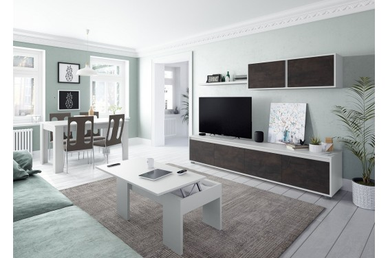 Mueble de salón ALIDA Oxido / Blanco Artik