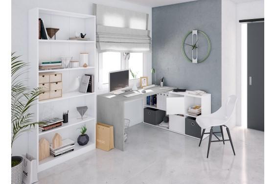 Mesa de Oficina BUC Cemento Reversible 2 puertas y 4 huecos