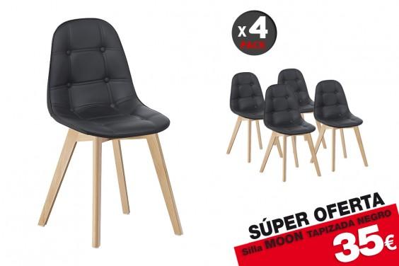 4 sillas MOON Diseño Negras